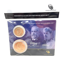 U.s. Mint Presidential 1 Coin And Spouse Medal Set Benjamin And Caroline Harriso