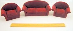 Vintage Wood Dollhouse Furniture Couch Sofa And 2 Chairs - Red Velvet Living Room