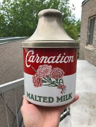 Vintage Minty C.1940 Porcelain Enamel Carnation Malted Milk Fountain Container