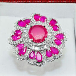 3.20ct Natural Round Baguette Diamond 14k White Gold Ruby Gemstone Cocktail Ring