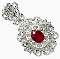 Christmas 3.76ct Natural Round Diamond 14k Solid White Gold Ruby Pendant
