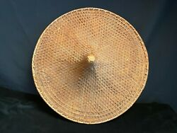 Vintage 18 In. Asian Conical Hat Bamboo Straw Chinese Coolie Rice Paddy Farmer