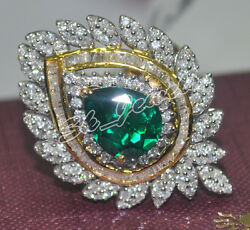 2.11ct Natural Round Diamond 14k Solid White Gold Emerald Wedding Cluster Ring
