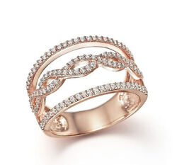 Black Friday 2.10 Ct Natural Diamond 14k Solid Rose Gold Band Ring Size 7 To 9