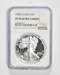 Pf70 Ucam 1988-s American Silver Eagle - Graded Ngc 3114