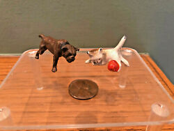 Antique Miniature Cold Painted Lead Cat And Dog Figurines