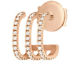 2.00ct Natural Round Diamond 14k Solid Rose Gold Stud Screw Back Earring