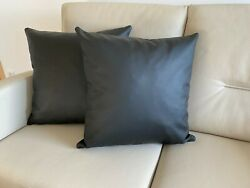 Cushion 19 11 16x19 11 16in Black 2er Set Real Leather Couch Decorative