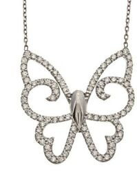 2.64ct Natural Round Diamond 14k Solid White Gold Butterfly Pendant
