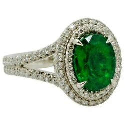 Igi Certified 2.96ct Natural Diamond 14k Solid White Gold Emerald Cocktail Ring