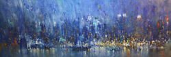 -original Painting By American Artist Jack Jung / Abstract Cityscape Jj-0099lp