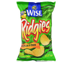 Wise Ridgies Sour Cream And Onion Potato Chips, 4.5 Oz. Bags Case Of 18