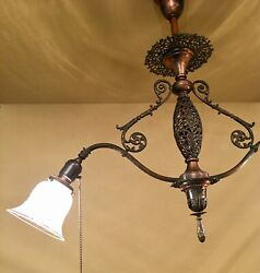 Vintage Lighting Circa 1900 Early Electric Pendant. Japanned Finish.