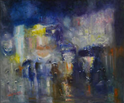 -original Painting By American Artist Jack Jung / Abstract Cityscape Jj-0015lc