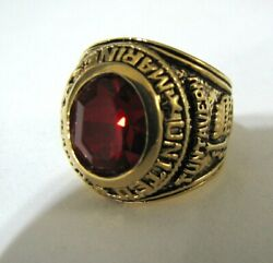 Seta Jewelry Men's Oval Cut Simulated Red Ruby Marines Ring Antiqued Gold Plate