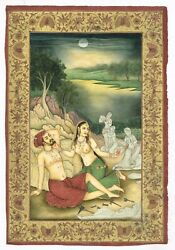 Hand Made Super Finest Mughal Miniature Painting Of Emperor And Empress Love Art