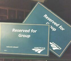 Amtrak Authentic Crew Signs X 2 Reserved For Group Coach Class 8.5 X 5.5