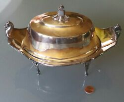 08/20 Antique Taunton Silverplate Butter/cheese Dish W/liner Horse Head Handles
