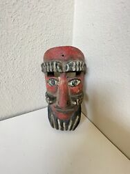 Folk Mexican Mexico Guerrero Mask Wood Carving Vintage Carved Antique