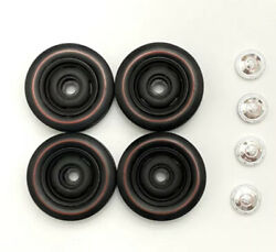 Set Of Steel Wheels Dog Dish Hupcaps And Tires 1/18 Scale Authentics Mopar Dodge
