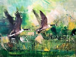 Canadian Geese - Original Painting On Canvas By Artist William Iii