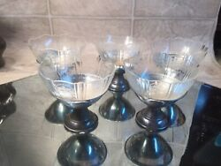 5 Vtg 2 Pc Glass Sherbet Cups W Metal Bases Ice Cream Sundae Dishes Glass Bowls