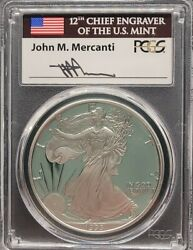 1993-p Pcgs Pr70 Dcam Mercanti Signed American Silver Eagle S1 Proof Pf 70