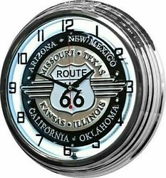 17 Route 66 Sign White Neon Retro Wall Clock Bar Game Room Man Cave Garage Rt
