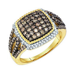 1.00 Cttw Natural Diamond Engagement Cluster Ring 10k Solid Yellow Gold