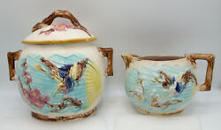 Antique Wardle Majolica Bird/butterfly And Fan Sugar And Creamer, England M075