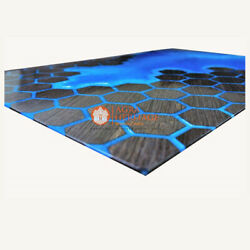 Blue Resin Epoxy Conference Customize Table Top Honey Cube Luxury Art Interior