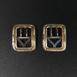 Antique Pair Of 9 Ct Gold And Steel Buckles C.1890 - 4.3 Grams