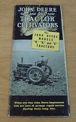 Vtg 1938 'advertising Brochure' John Deere Two-and Four-row Tractor Cultivators