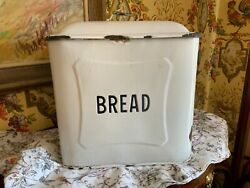 Very Large Antique English Enamelware Bread Box Manor House C1920
