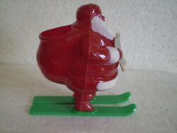 Rosbro Hard Plastic Candy Container Santa On Green Skis W/ Orig Rosbro Booklet