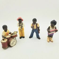 Tiny 4 Piece African American Jazz Band Figurines 3 Ceramic No Tags Dime Store