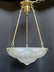 Vintage French Art Deco Frosted Glass Bowl Chandelier Ceiling Light Muller Style