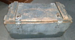 Us Wwii Green Wooden Ammo Crate Box W/ Markings