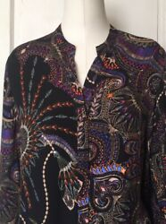 Johnny Was Workshop - Women Flower Tunic Top Bell Sleeves -multicolored Size Xs