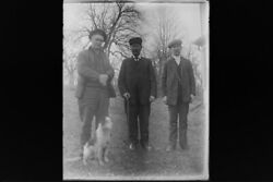 Antique 4x5 Inch Plate Glass Negative Of Three Men With A Dog E10