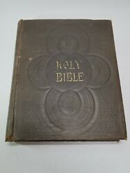 Antique Large Holy Bible Old And New Testaments Self-pronouncing Edition Rare 1891