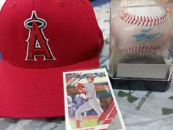 Shohei Ohtani Sign Ball With Case Angels Hat Photo Card I'm Playing Two-sword