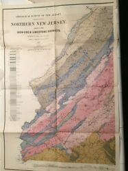 Northern New Jersey Antique Map, Geological, 1874. 2 Map Set