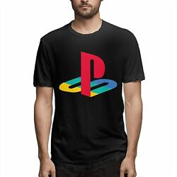 Menand039s Playstation Neon Icons Logo Fashion Casual Short Sleeve T-shirt S-4xl