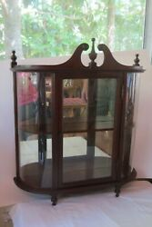 Vintage Wood Curved Glass Curio Display Case Mirror Wall Two Shelf Cabinet