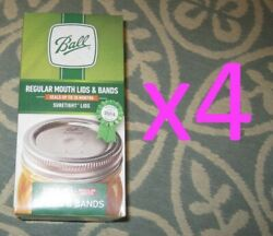 4 Boxes - Ball Regular Mouth Lids And Rings Bands For Mason Jar Canning Total 48