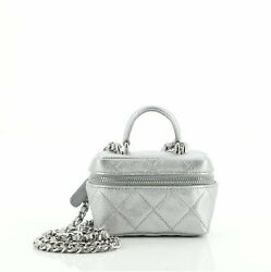 Top Handle Zip Around Vanity Case With Chain Quilted Caviar Mini