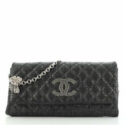 Butterfly Chain Clutch Quilted Glitter Fabric