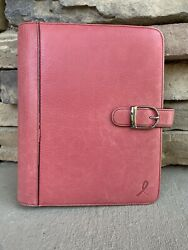 """Day Timer Franklin Covey Quest 1"""" Rings Organizer Leather Pink Planner 8""""x 9.5"""""""