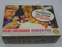 Vintage Mattel Thingmaker Mini Dragons Box, Molds + Fright Factory Molds, Papers